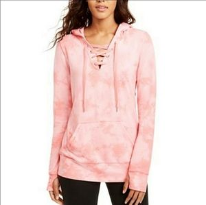Ideology NWT Pink Tie-Dye Lace-up Hoodie